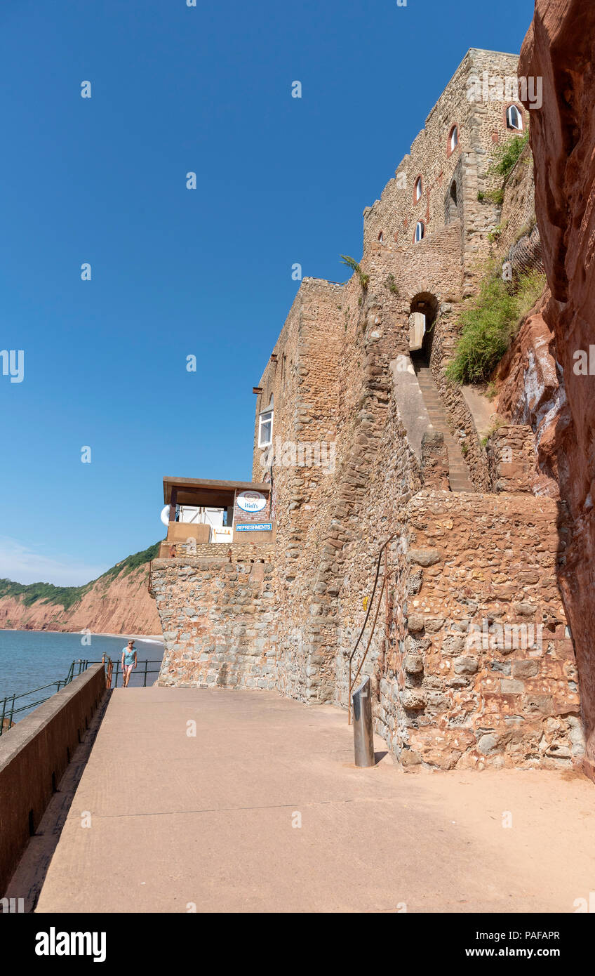 Sidmouth, Devon, England, UK. The Triassic red cliffs on the Wessex Coast - Stock Image