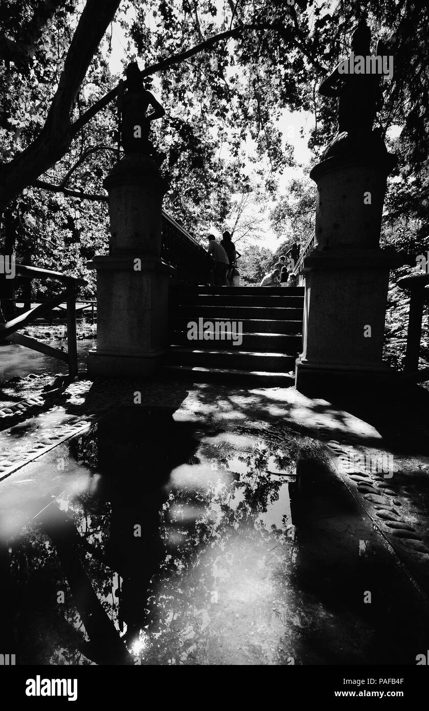 Milan, Italy - July 22, 2018: Bridge of the sirenette. Bridge of Mermaid in the Sempione park in Millano Italy in the summer - Stock Image