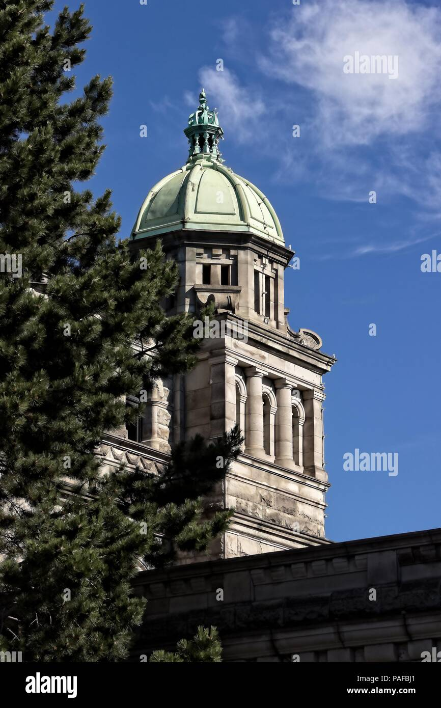 Government Building-Victoria, BC; A portion of the legislative building in Victoria, BC. Suitable for hotel-motel rooms, lobbies and travel agencies. - Stock Image
