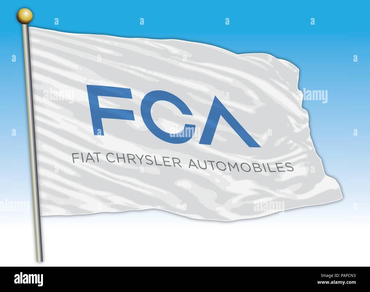 Flag symbol FCA industries, editorial - Stock Vector