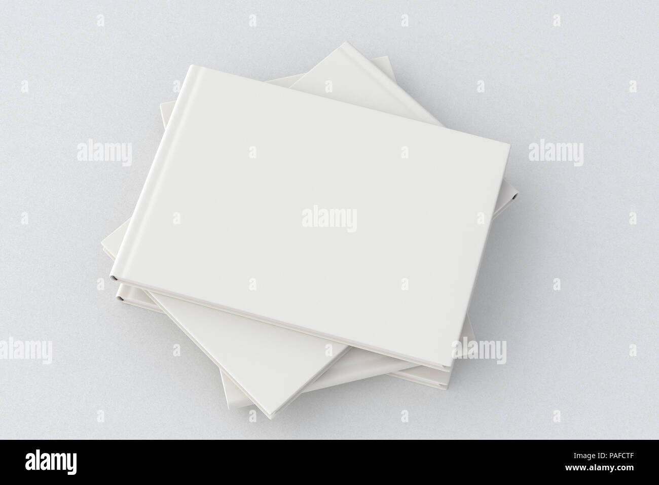 White horizontal blank cover book stack mockup on white