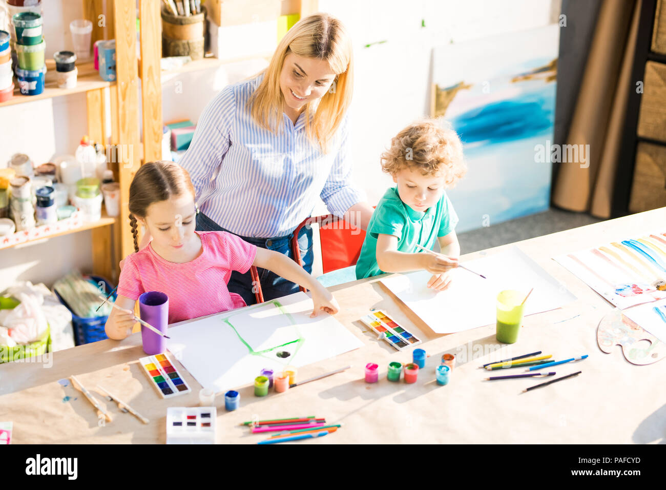 Children at art class Stock Photo