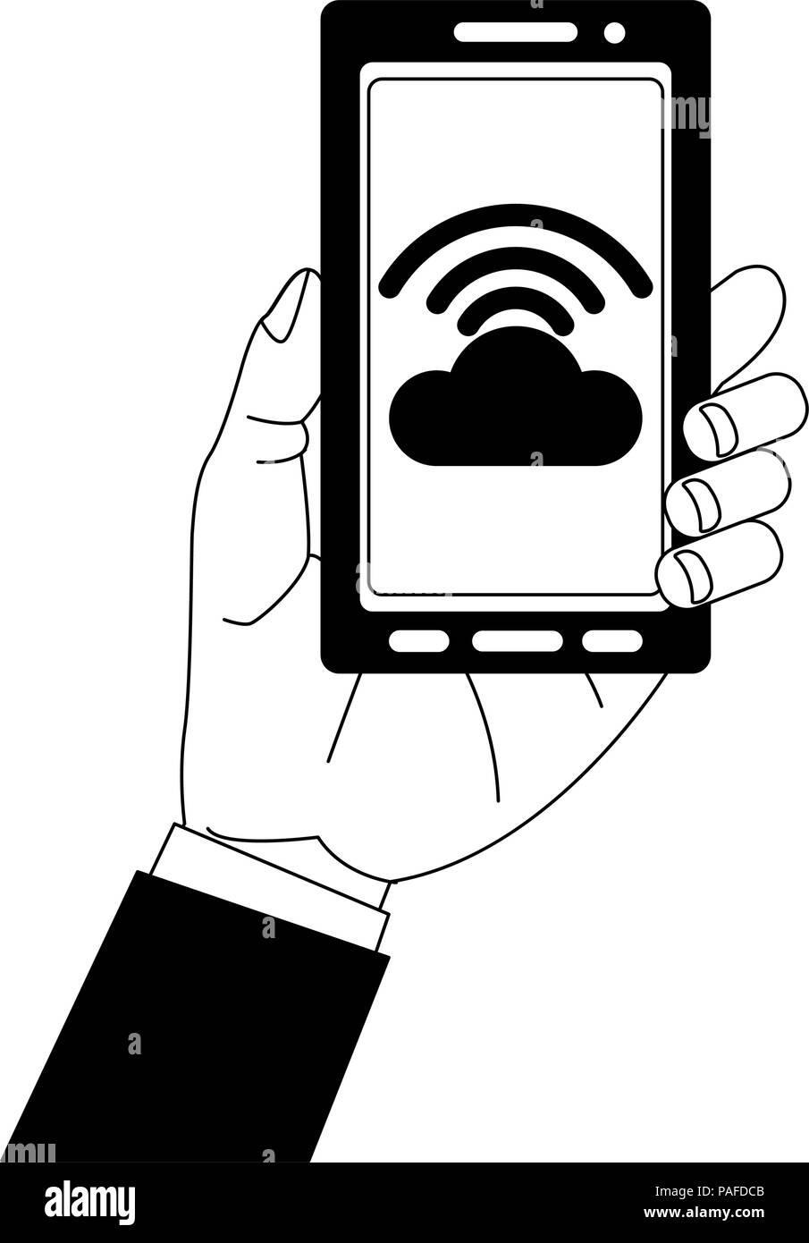 Hand holding smartphone with cloud computing vector illustration graphic design Stock Vector