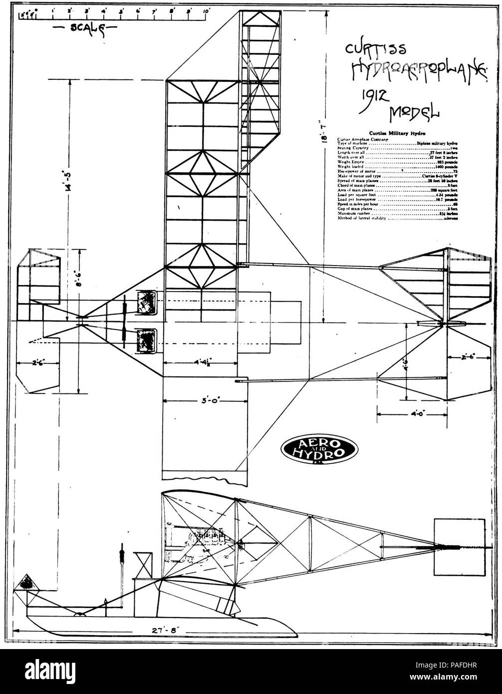 Curtiss 1912 Hydroplane 2 view from Aero and Hydro Vol. 1 p 336 - Stock Image