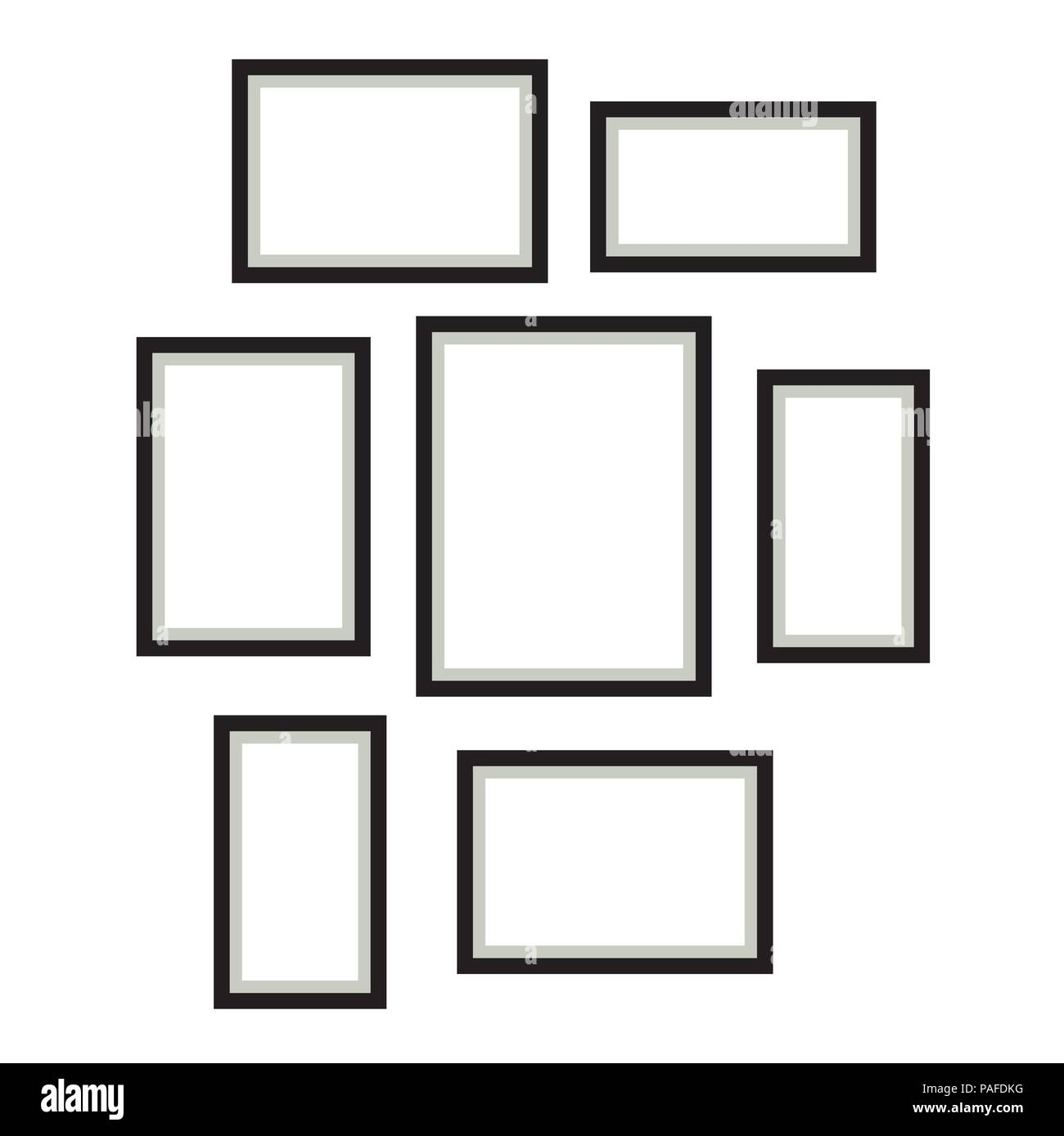 Photo frame template vector set hanging on wall. - Stock Image