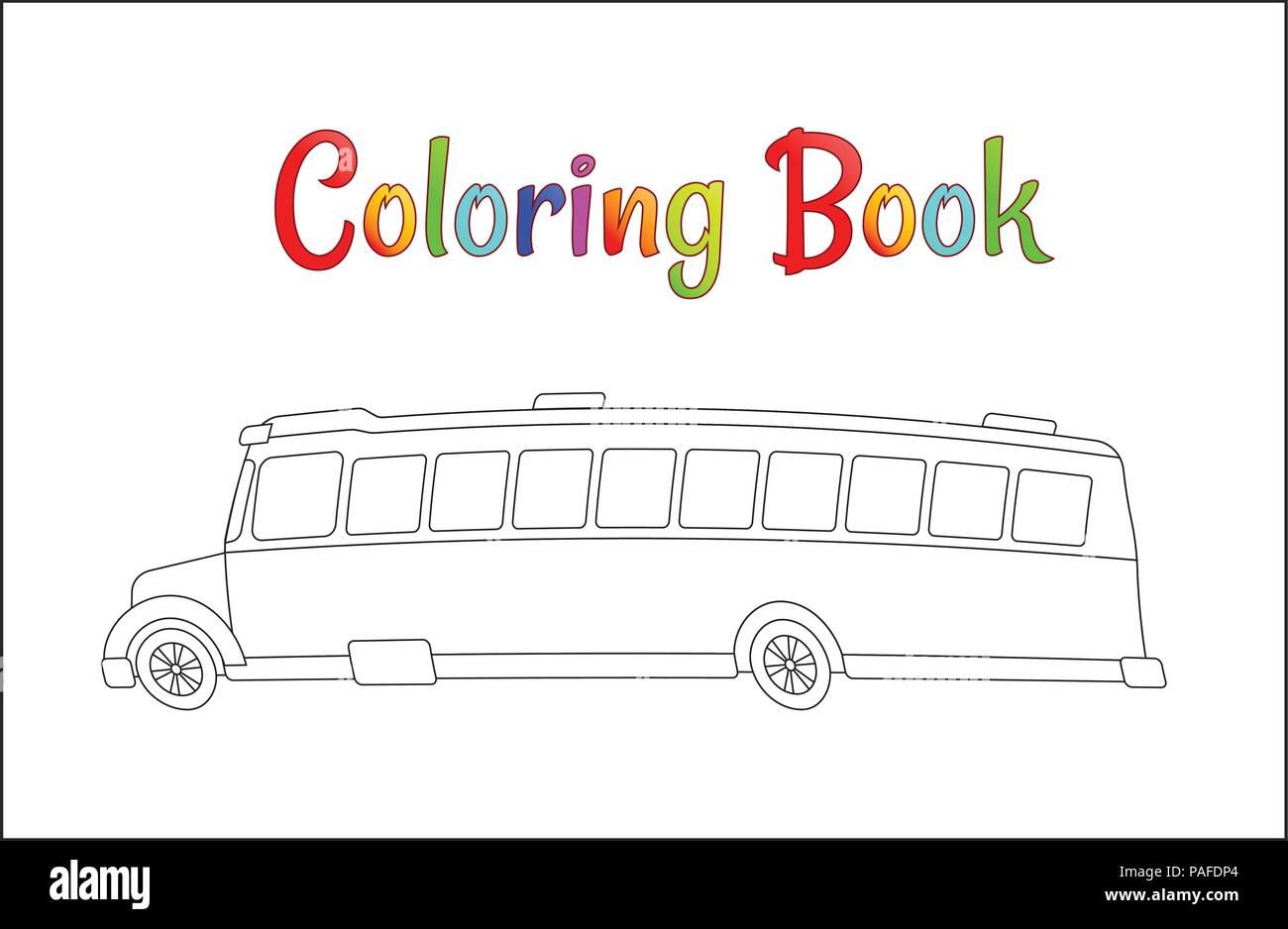 School bus coloring page, back to school concept, kids school vector ...