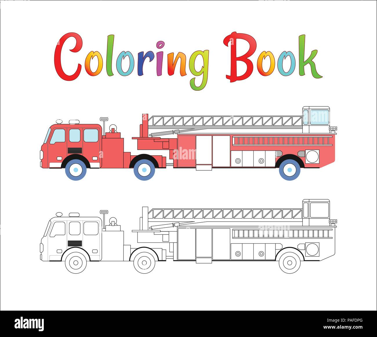 Fire Truck Coloring Book Vector Coloring Pages For Kids Vector Illustration Eps 10 Stock Vector Image Art Alamy