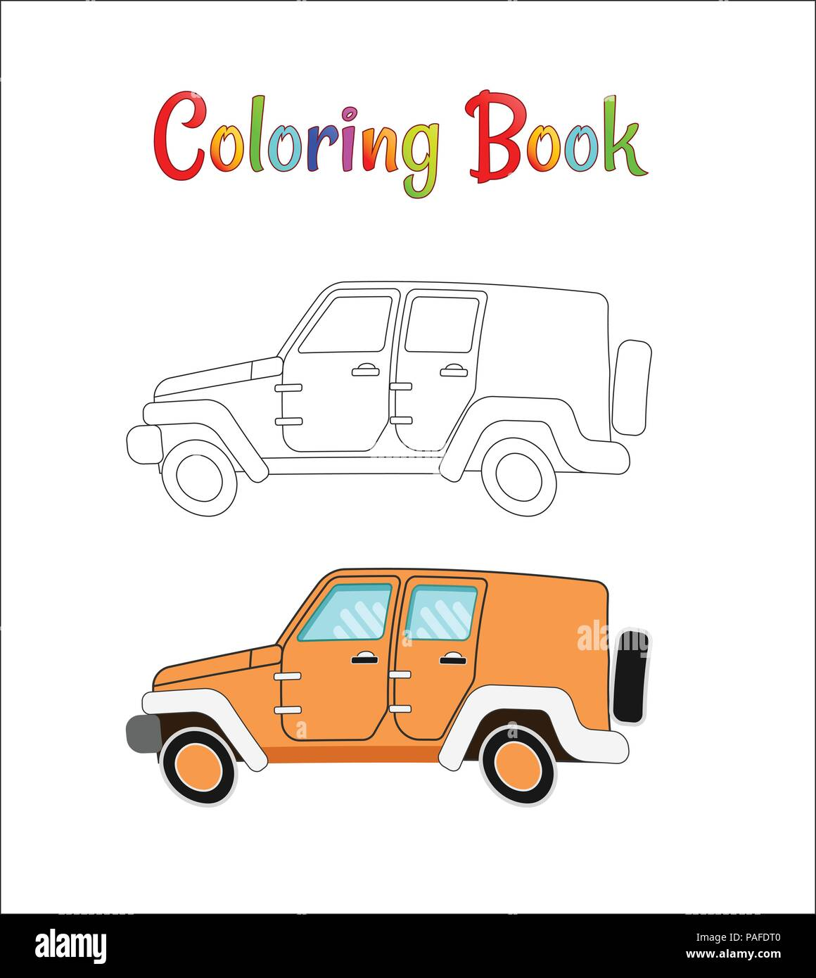 Safari Jeep Wrangler Coloring Pages For Kids Vector Illustration Outline Eps 10