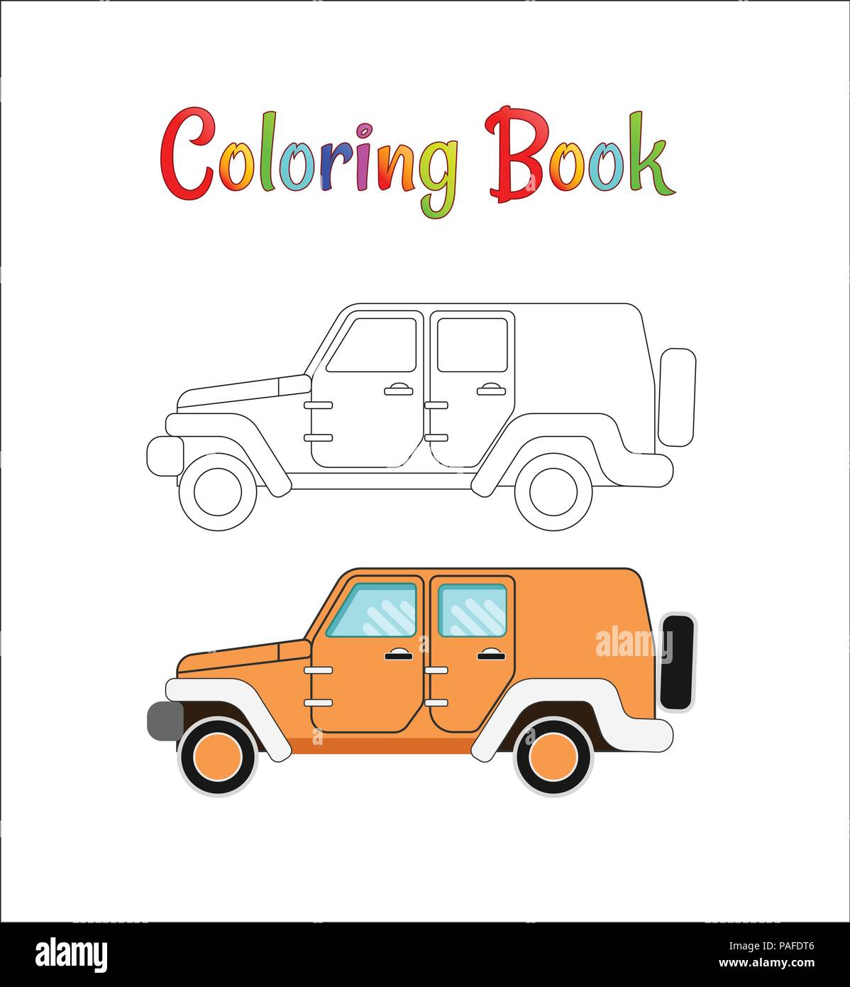 Safari Jeep Wrangler Coloring Pages For Kids Vector Illustration