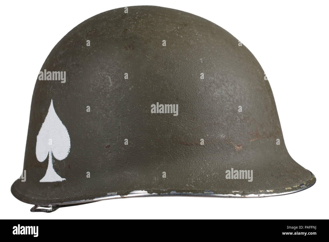 ww2 us army helmet with ace of spades emblem isolated Stock Photo