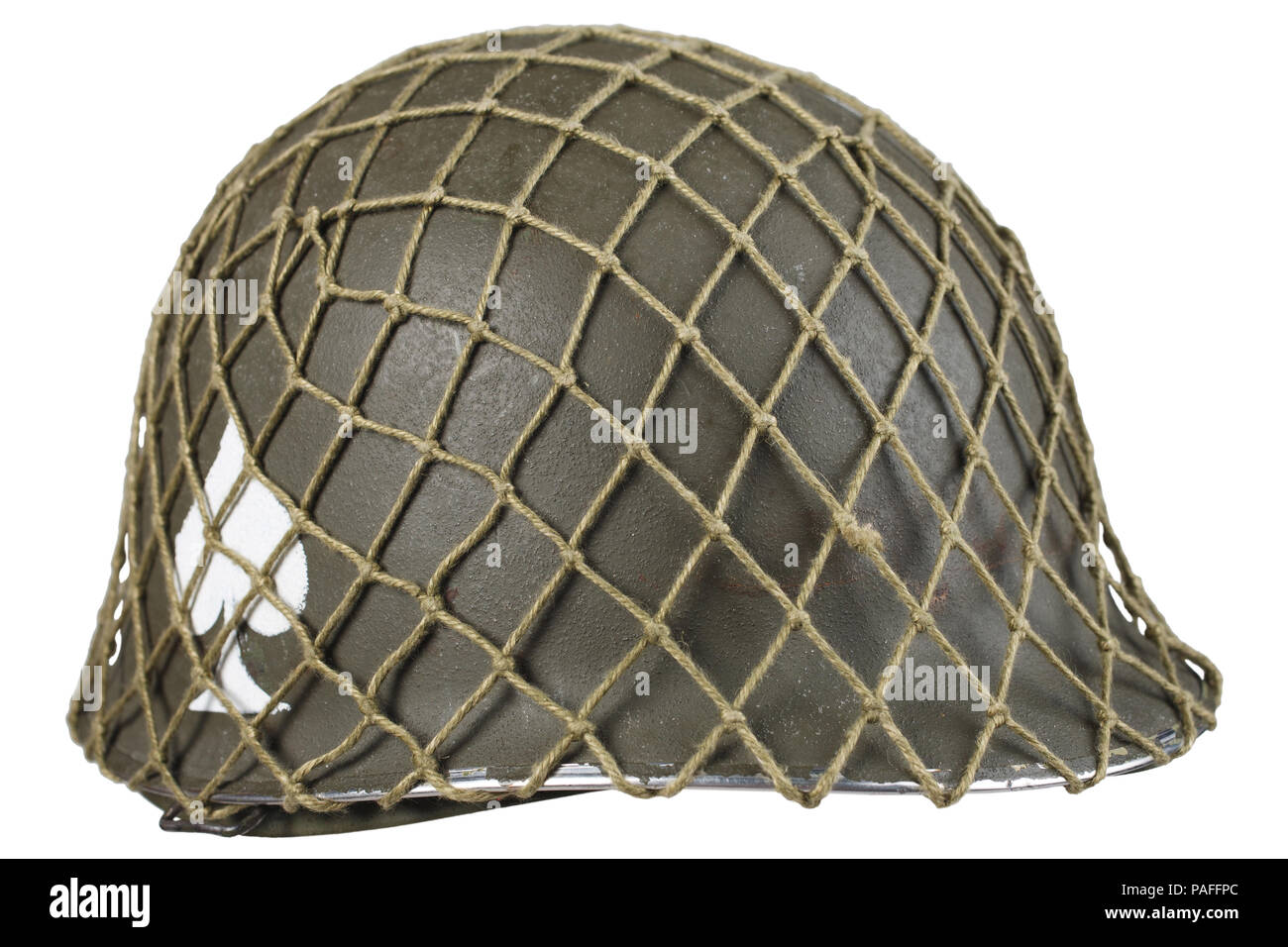 ww2 us army helmet with ace of spades emblem isolated - Stock Image