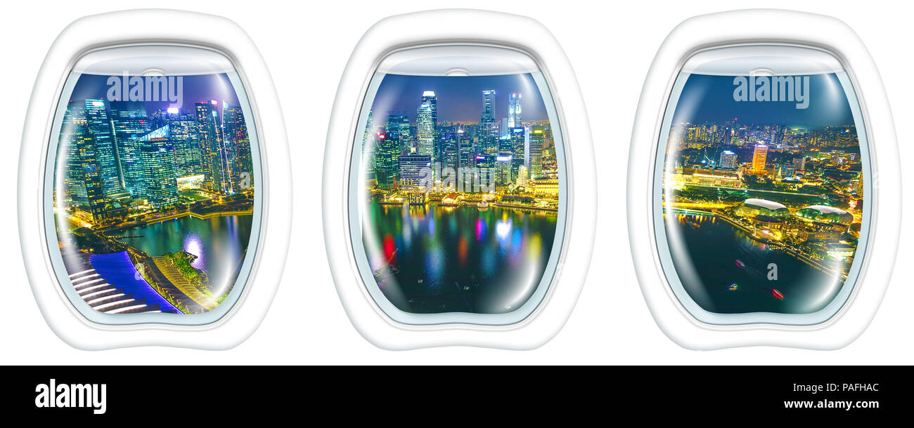 Porthole windows interior on marina bay financial district of Singapore. Asian skyscrapers reflected on the harbor by night. Scenic flight above Singapore skyline. Night aerial scene white background. - Stock Image