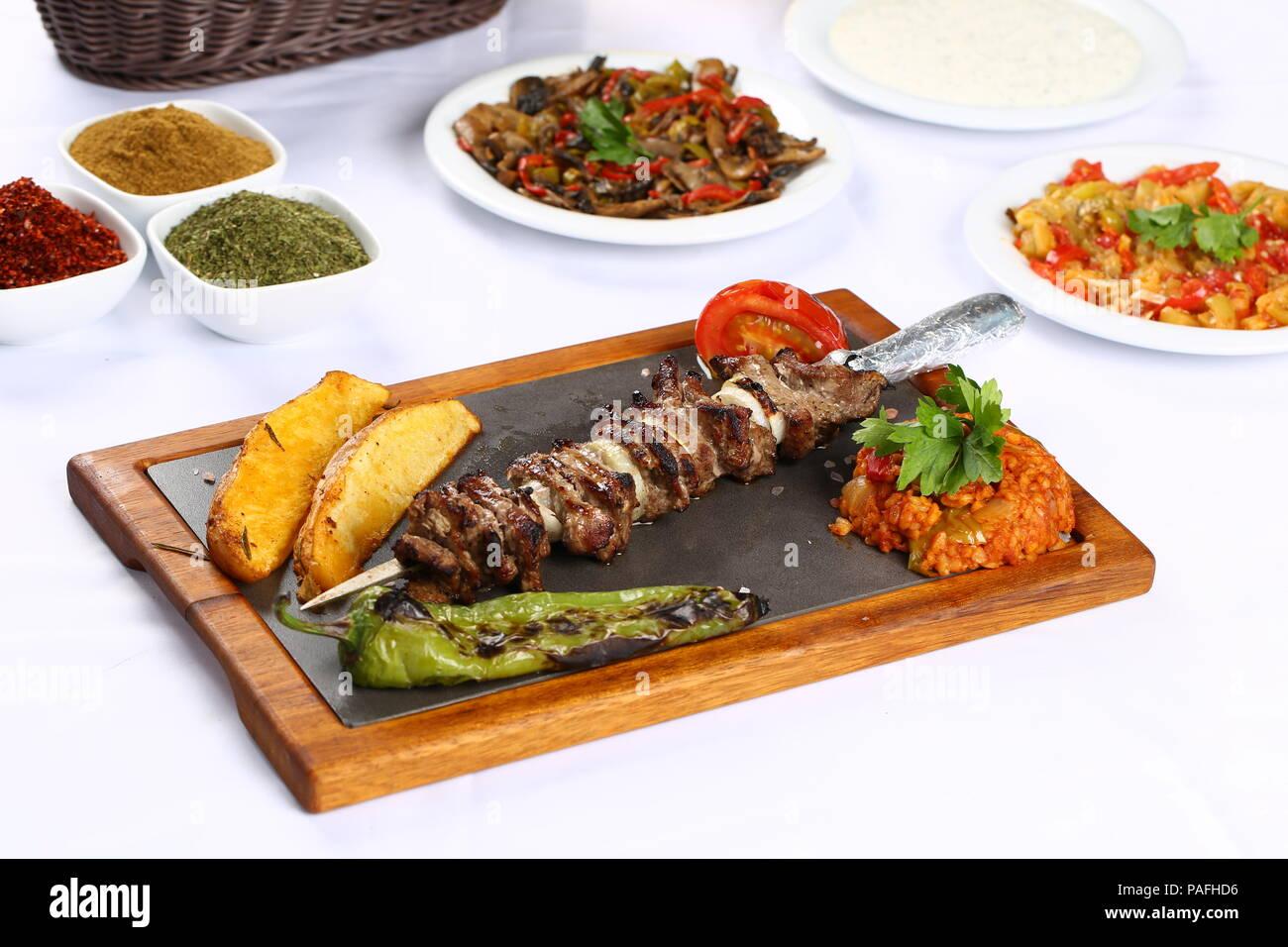 https www alamy com turkish cag kebab doner in plate image213013954 html