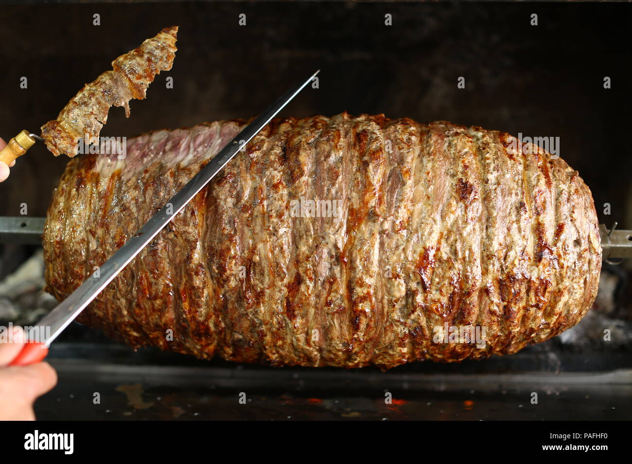 https www alamy com turkish cag kebab doner in wood fired oven image213014004 html