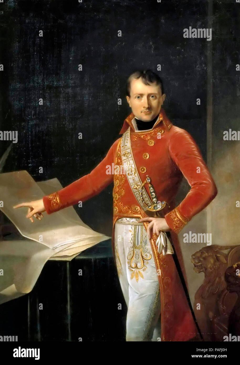 Napoleon Bonaparte, Premier Consul - Portrait of Napoleon I - attributed to Anne-Louis Girodet de Roussy-Trioson - Stock Image