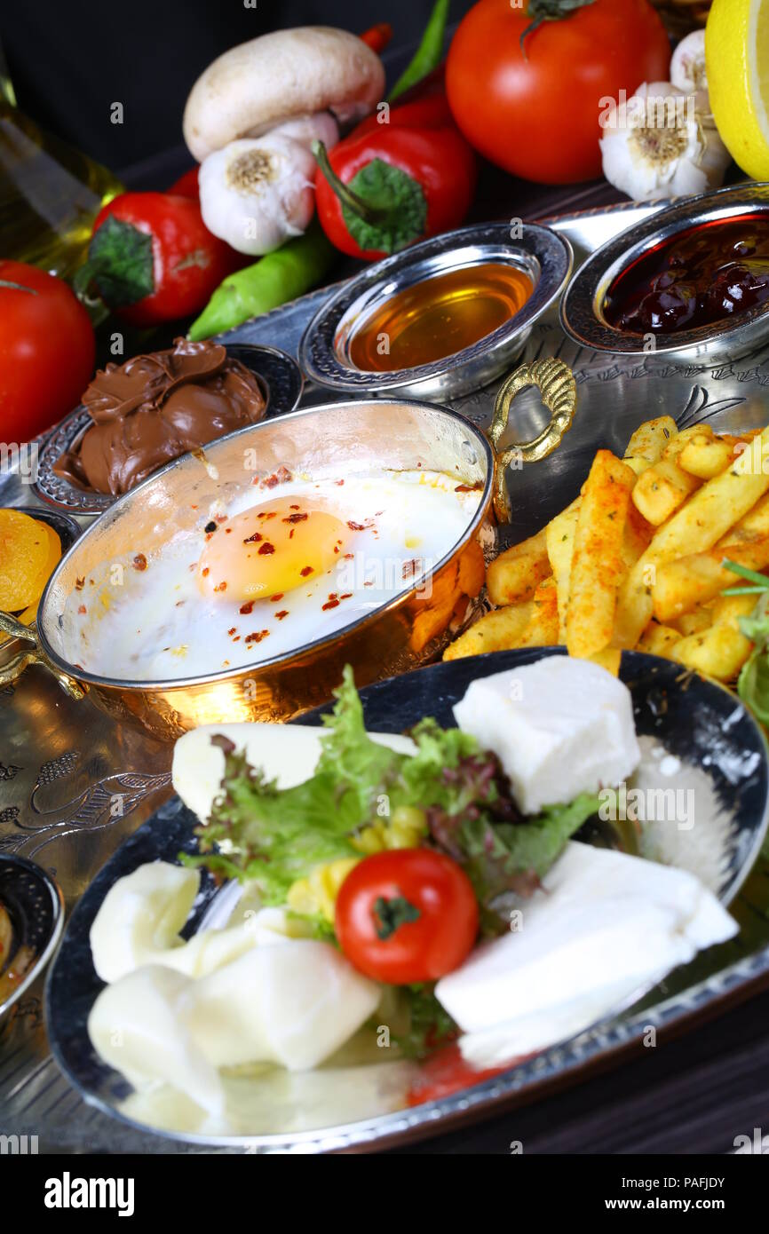 Turkish Breakfast with Fried Eggs - Stock Image