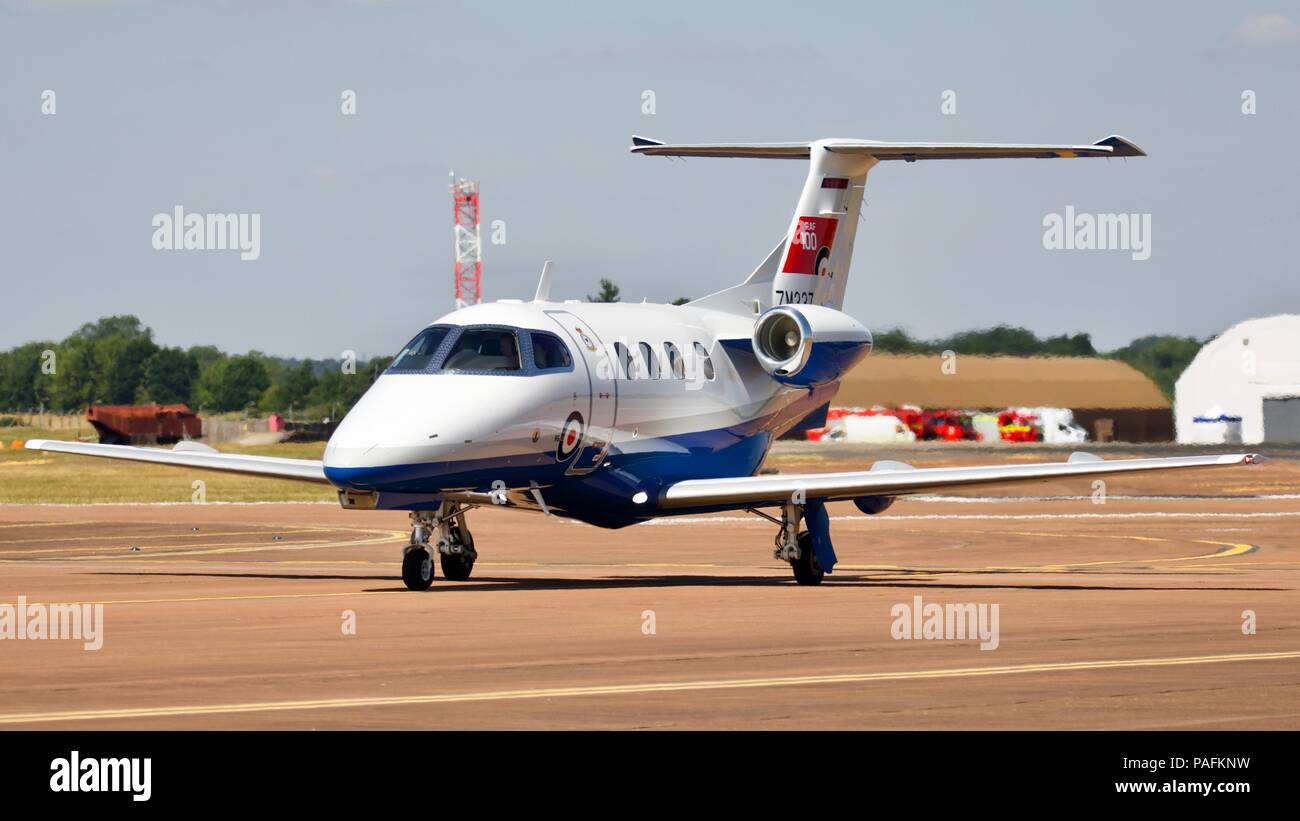 Embraer Phenom 100 - RAF new multi engine training aircraft arriving at RAF Fairford for the 2018 Royal International Air Tattoo - Stock Image