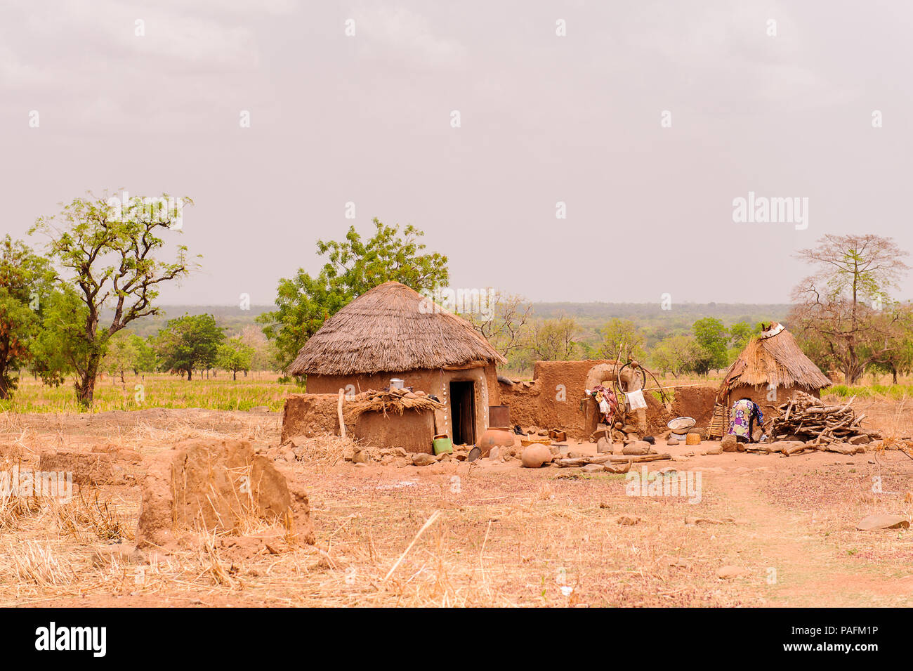 ACCRA, GHANA - MARCH 6, 2012: Ghanaian village. People of Ghana suffer of poverty due to the unstable economic situation - Stock Image