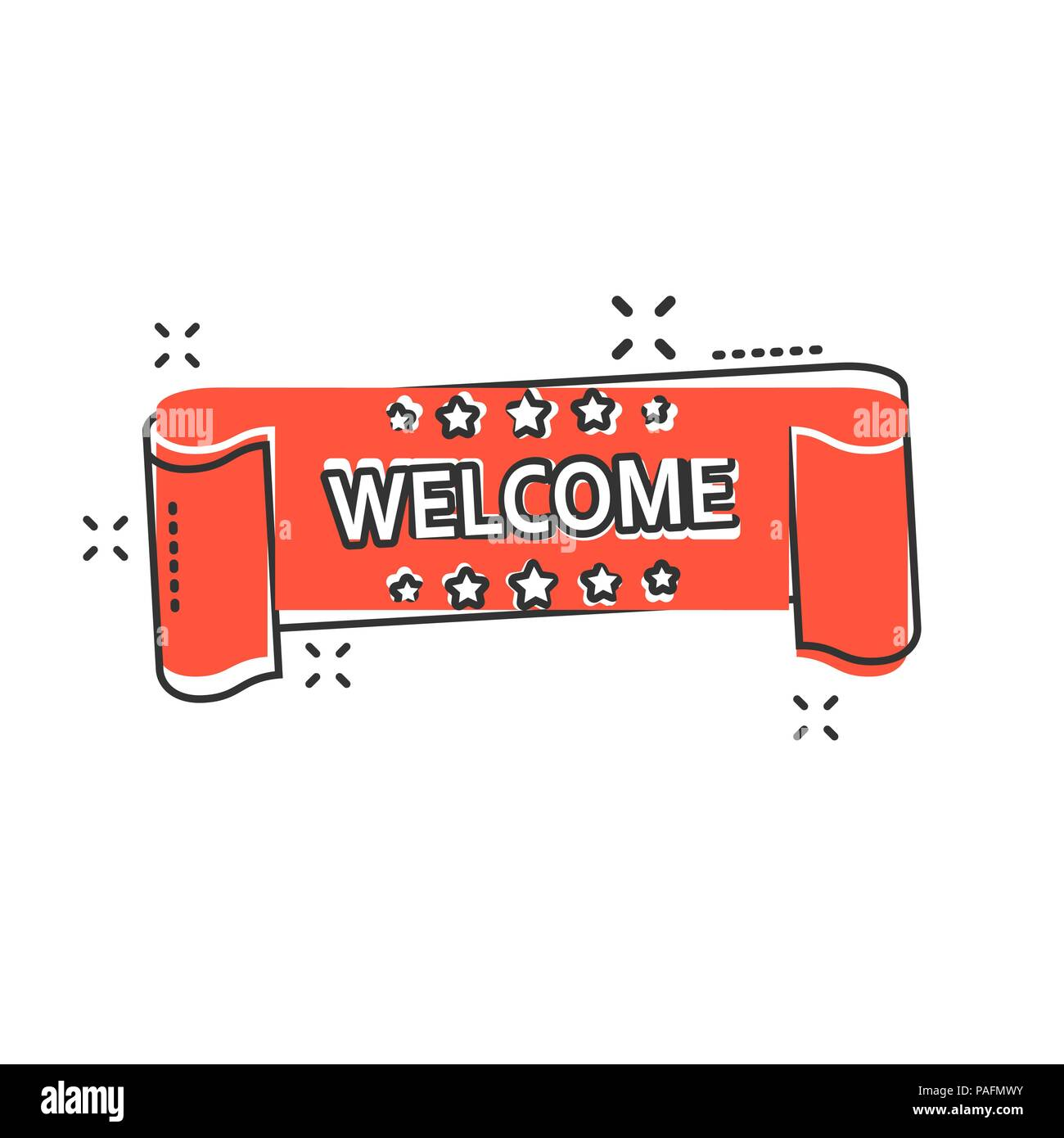 vector cartoon welcome ribbon icon in comic style hello sticker