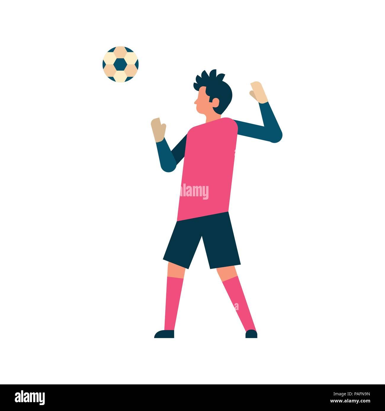 Football player goalkeeper hitting ball isolated sport championship flat full length character - Stock Vector