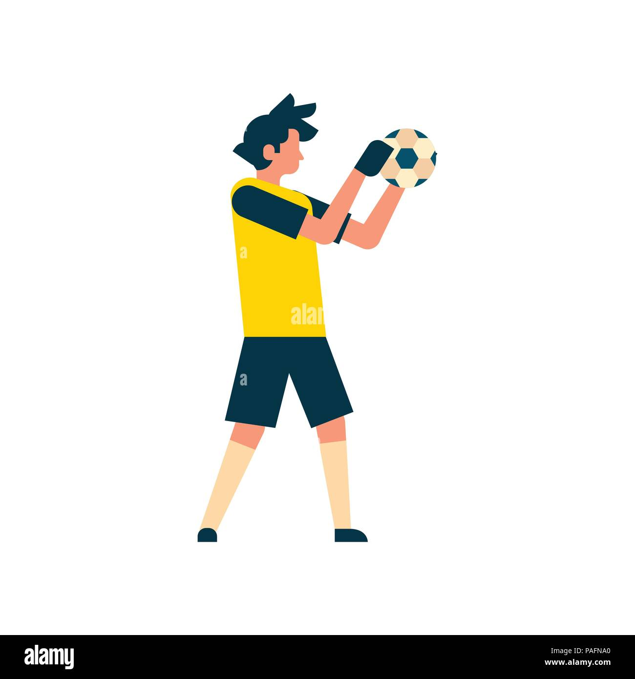 Football player goalkeeper catching ball isolated sport championship flat character full length - Stock Vector