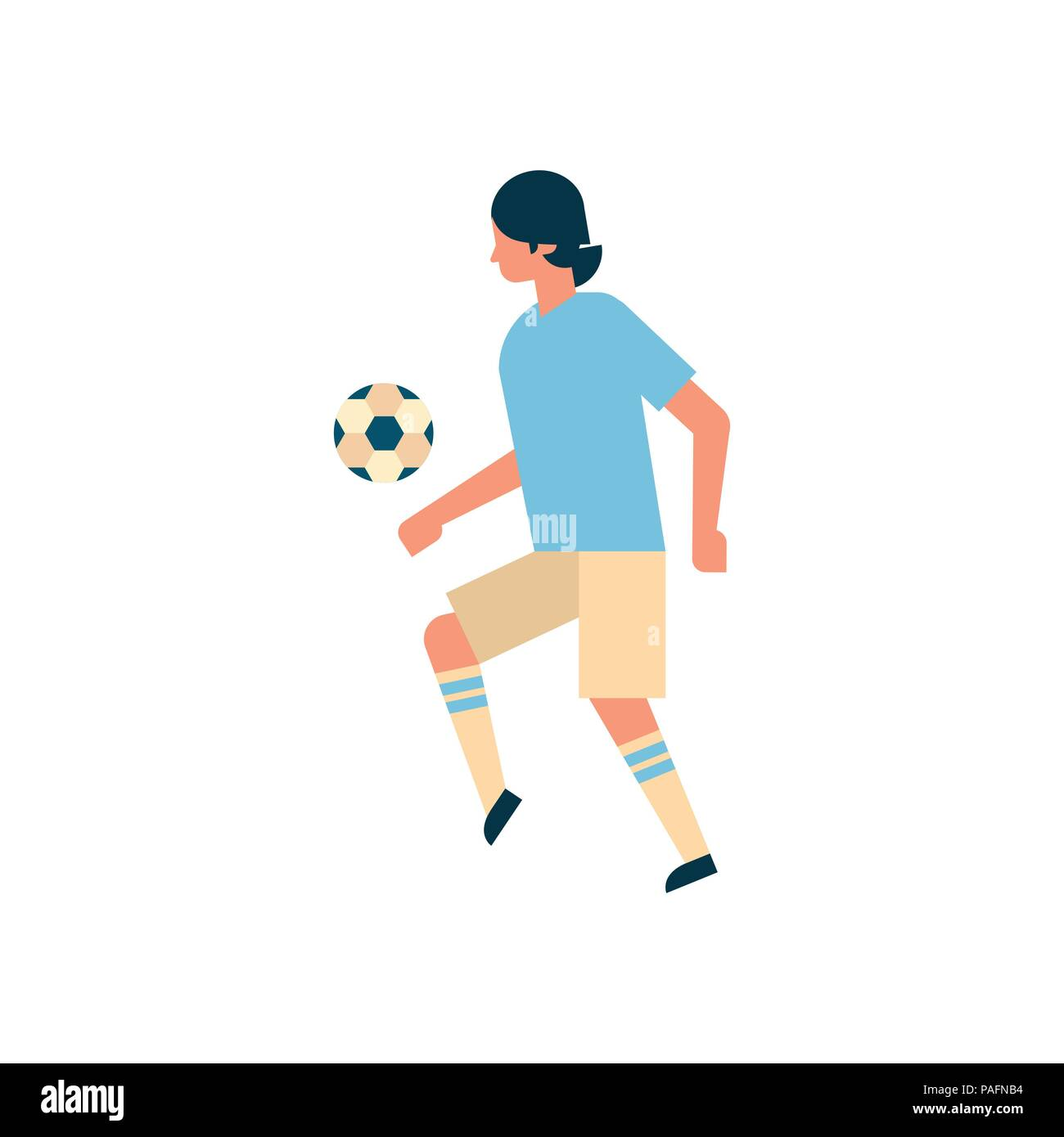 Football player kick ball isolated sport championship flat full length character - Stock Vector