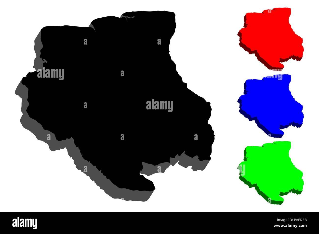Surinam World Map.3d Map Of Suriname Republic Of Suriname Surinam Black Red