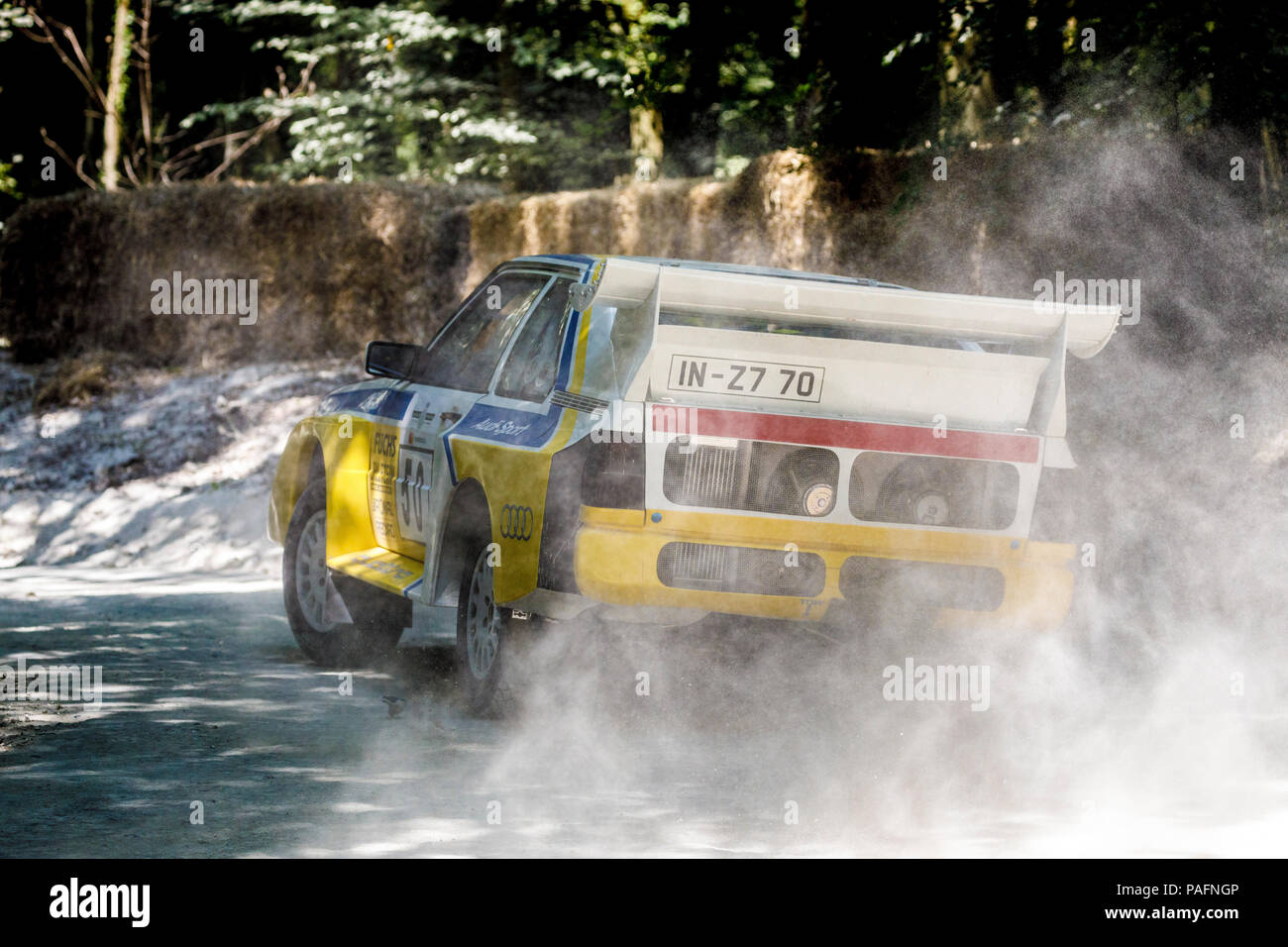 1986 Audi Quattro S1 E2 Group B rally car with driver Janice Magee on the forest stage at the 2018 Goodwood Festival of Speed, Sussex, UK. - Stock Image