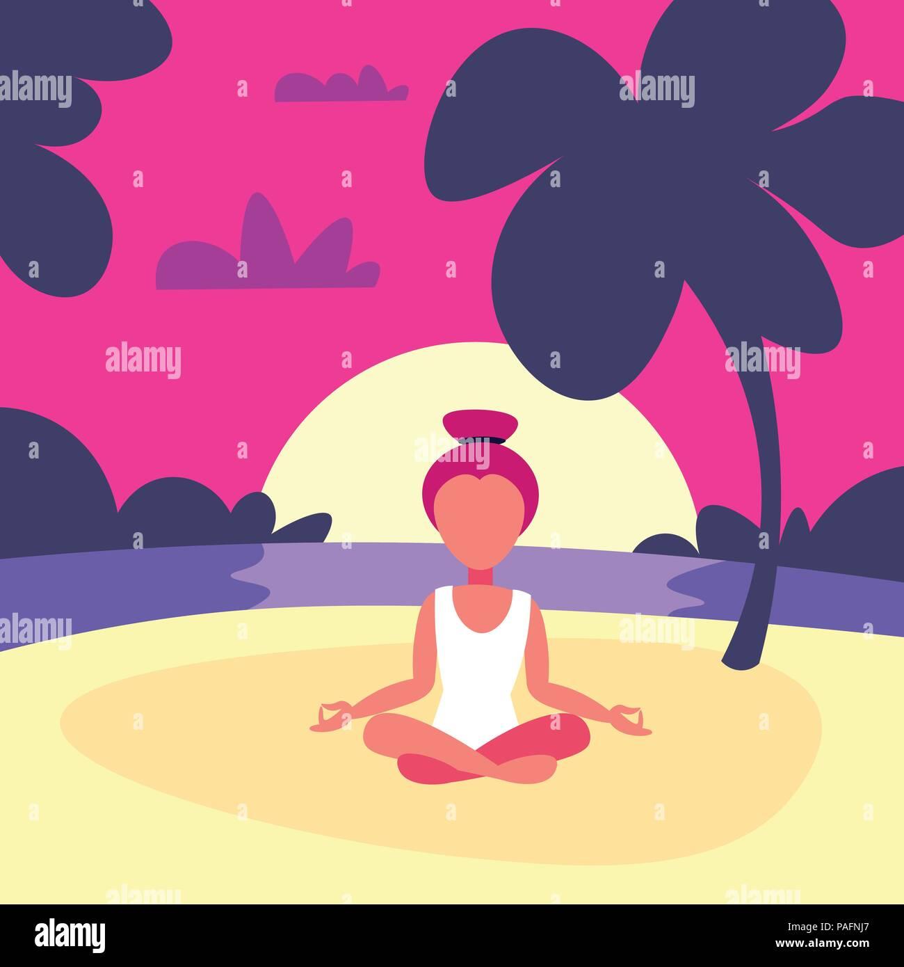 Woman Doing Yoga Exercises Lotus Sunset Beach Background Female Sport Activity Cartoon Character Full Length Flat Stock Vector Image Art Alamy