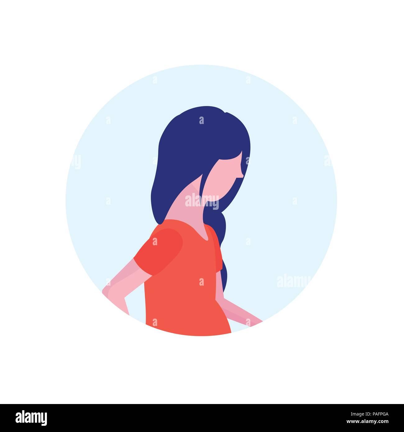 Asian Woman Profile Avatar Isolated Female Cartoon Character