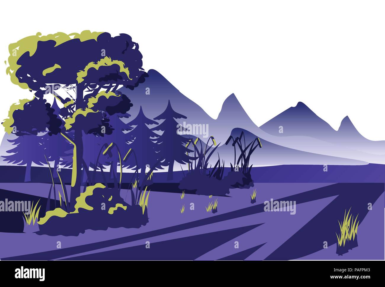 dawn view morning mist forest mountain outdoor landscape background flat horizontal - Stock Vector