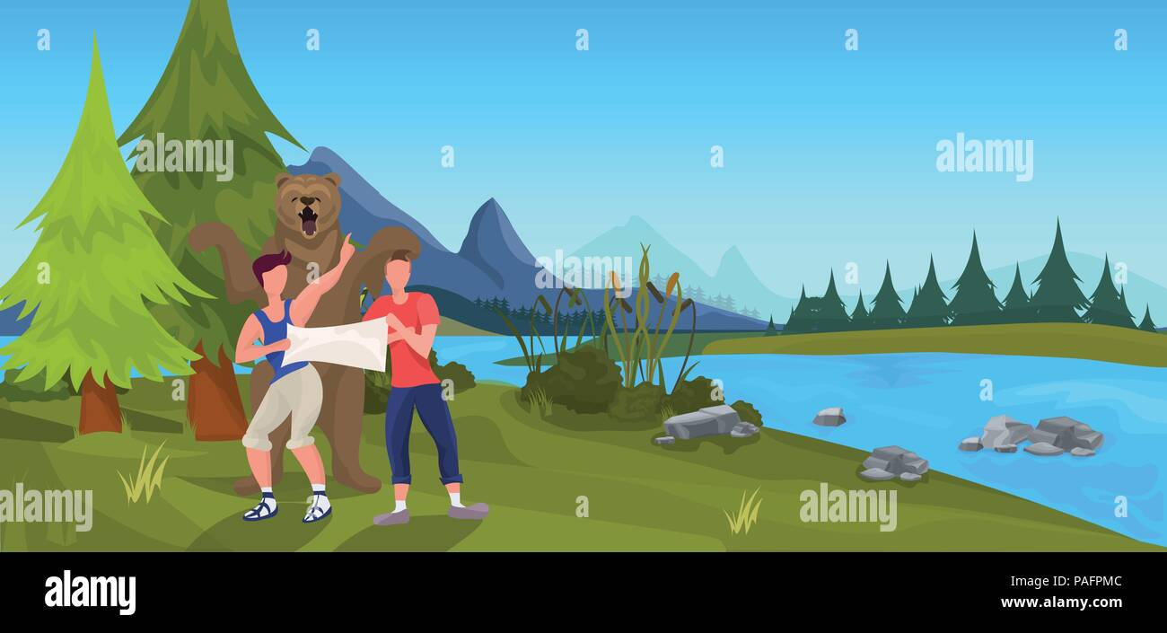 bear attacking tourist men hold map forest mountain expedition outdoor landscape background flat horizontal - Stock Vector