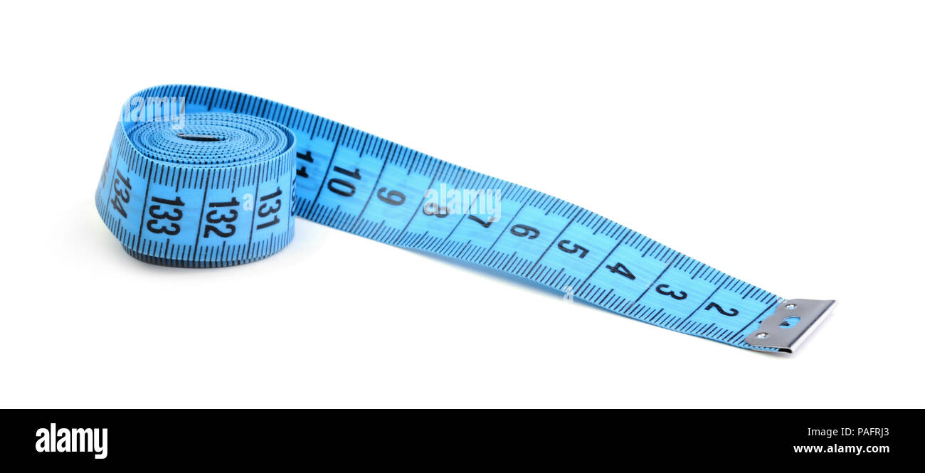 Blue flexible ruler isolated on white background - Stock Image