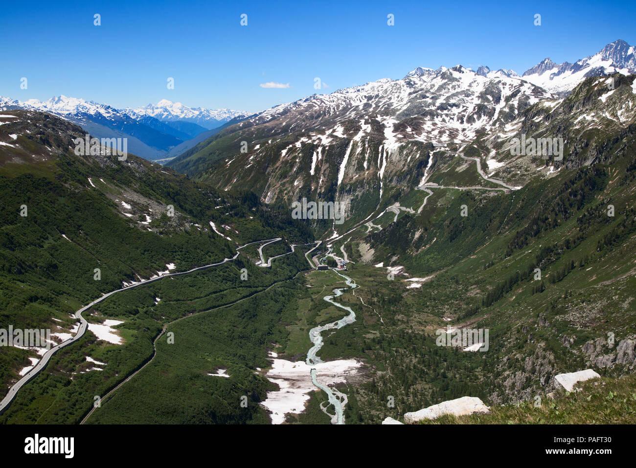 Swiss alps near Furka pass and Rhone glacier Stock Photo