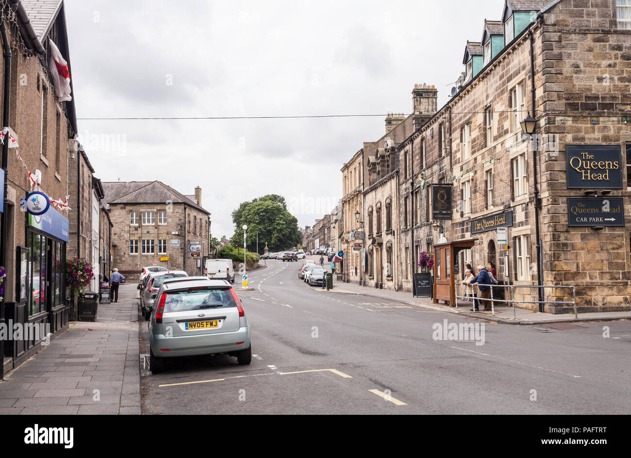 Street scene in Town Foot,Rothbury,Northumberland,England,UK - Stock Image