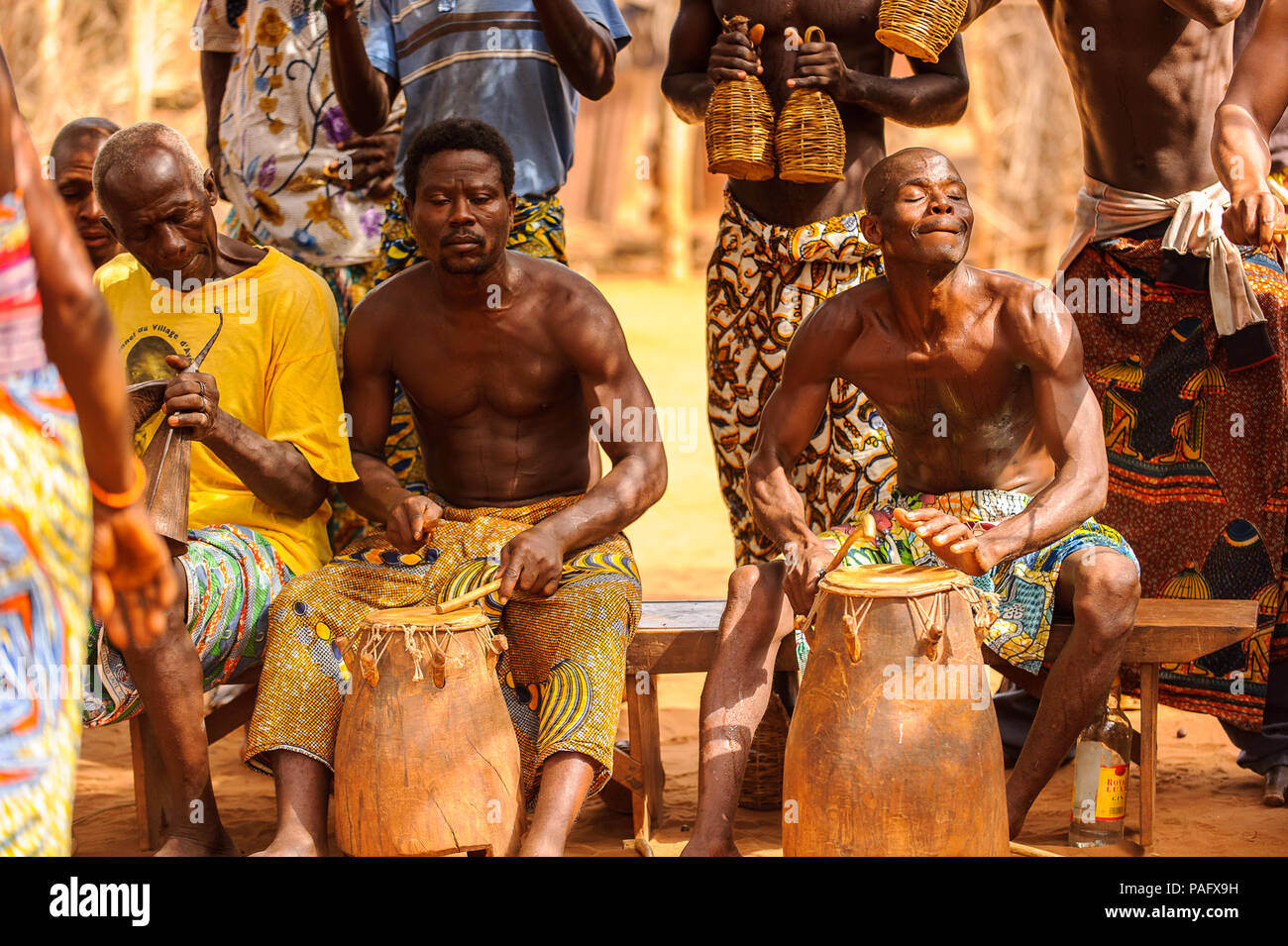 KARA, TOGO - MAR 11, 2012: Unidentified Togolese drummers