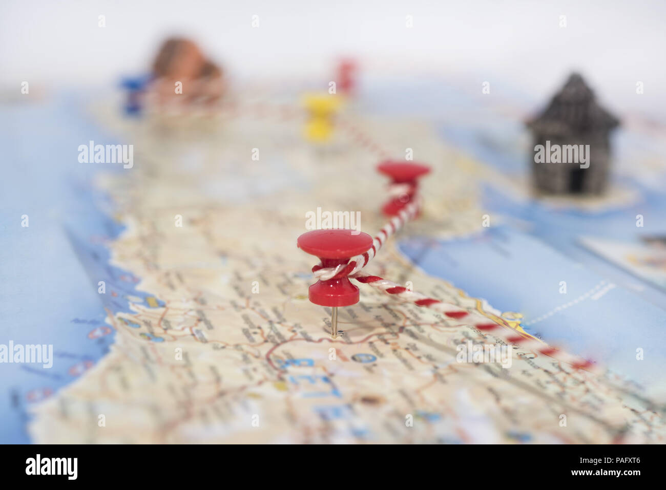 Abstract idea of summer vacation. Marked points on mar. - Stock Image