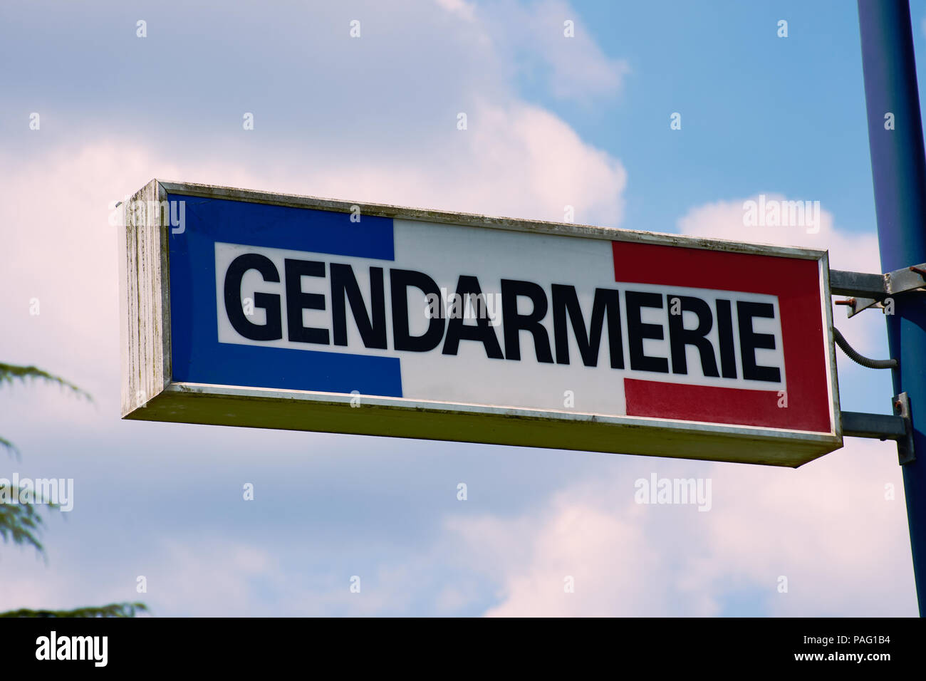 sign with the word Gendarmerie, the French policy - Stock Image