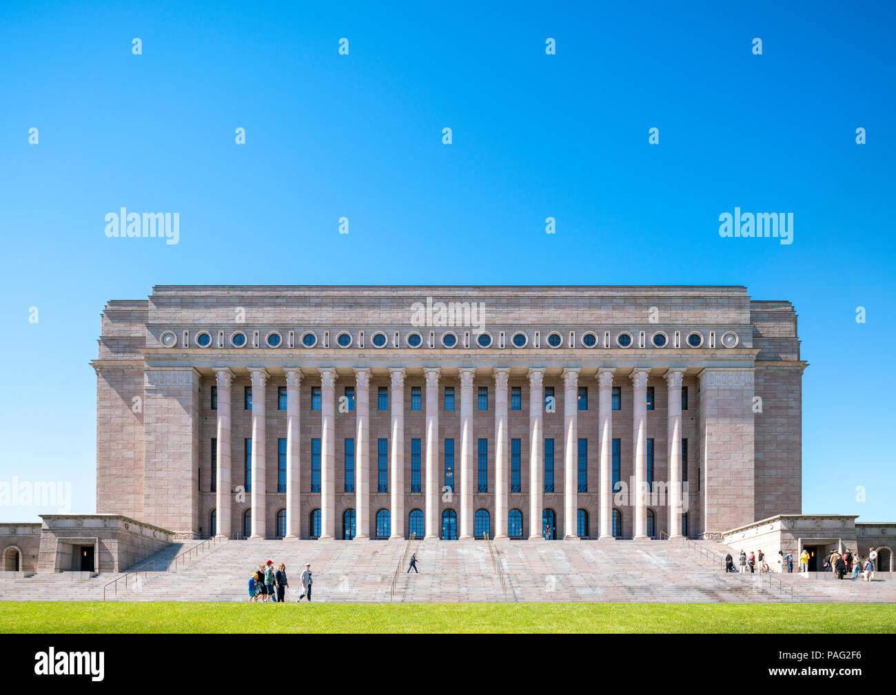 Helsinki Parliament House, Suomen Eduskunta, Eduskuntatalo, Finlands Riksdag, Riksdagshuset, Finnish National Parliament Building - Stock Image