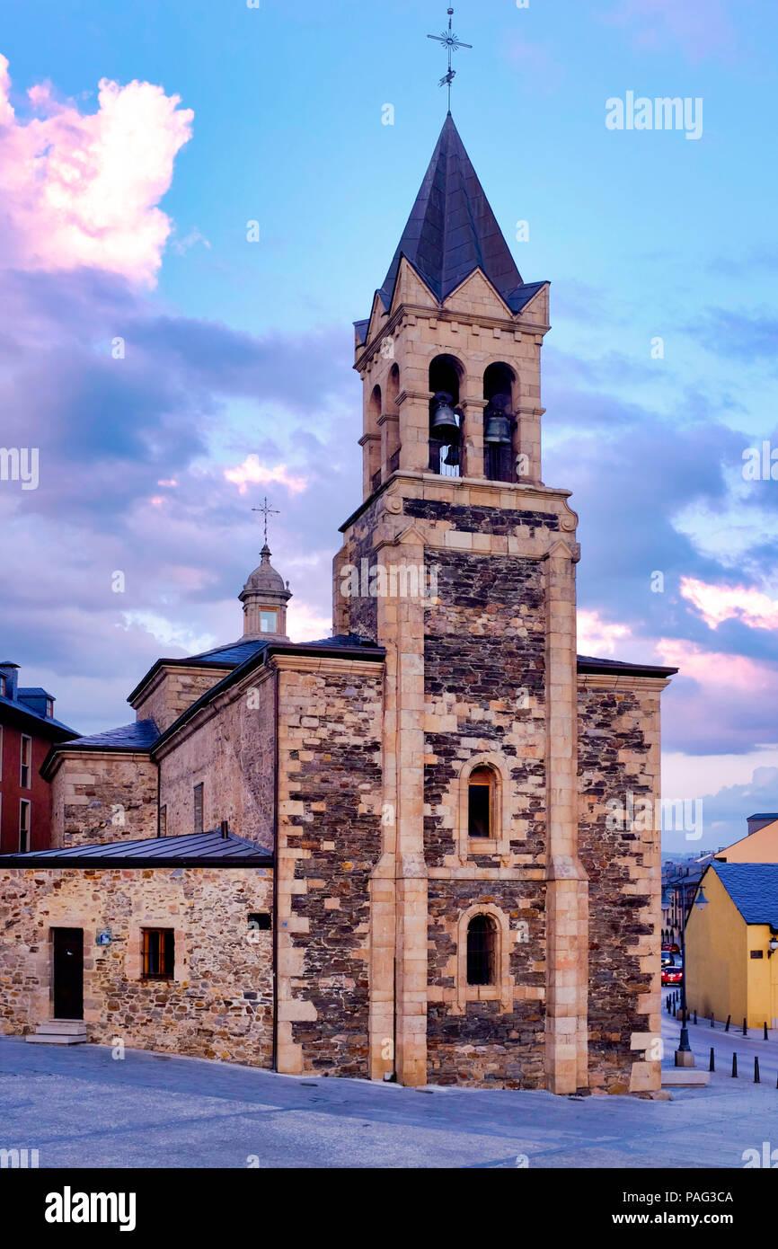 Facade of the Church of San Andres, Ponferrada, Spain - Stock Image