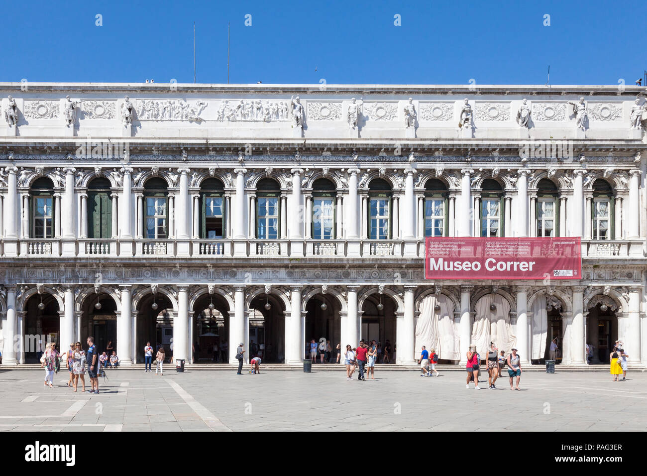 Museo Correr, Correr Museum, Piazza San Marco, Venice, Veneto, Italy. Facade onto St Marks square with sign. Fine Arts and History museum. - Stock Image