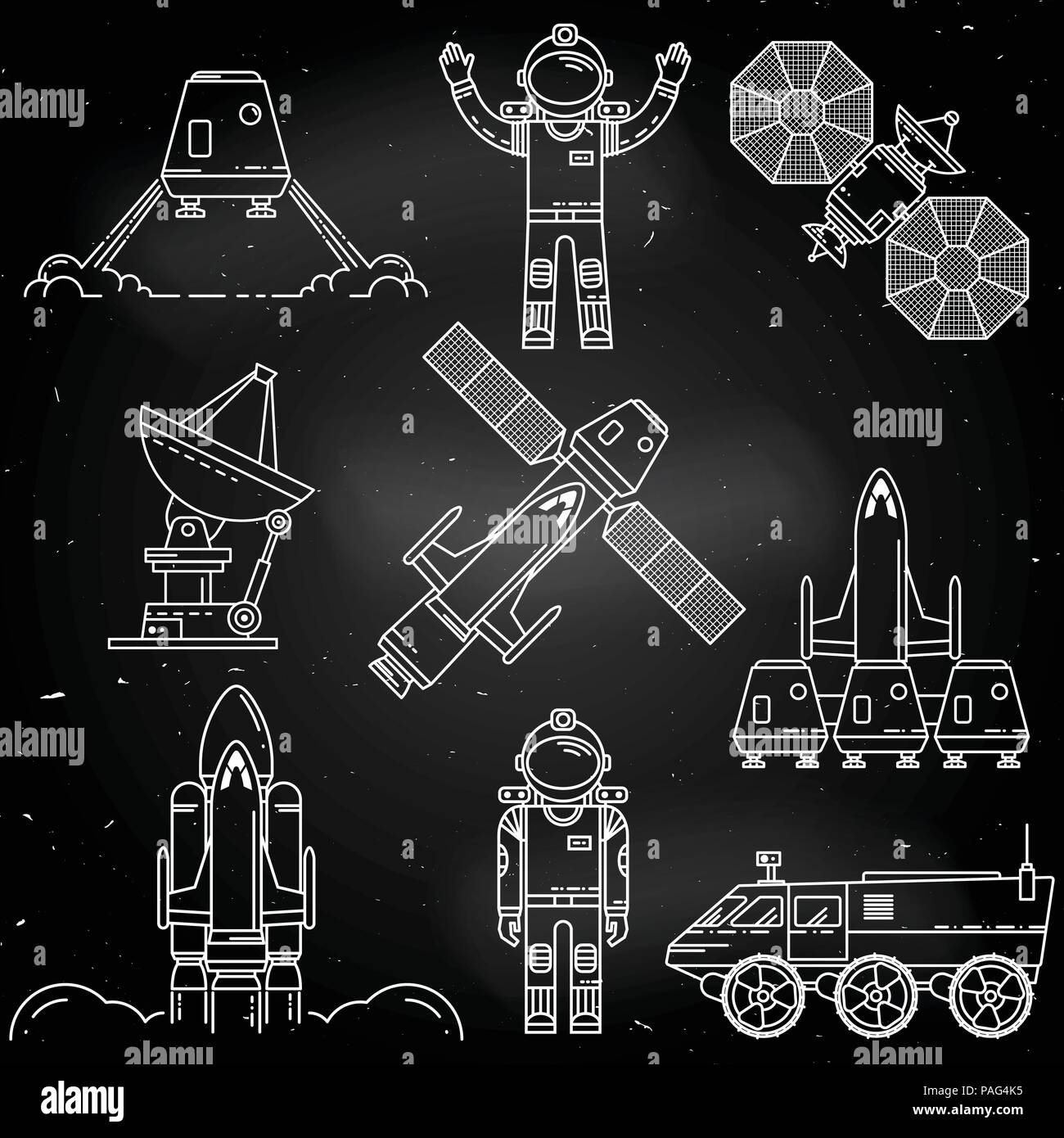 Space Thin Line Icon Design On The Chalkboard Human Mission To Mars