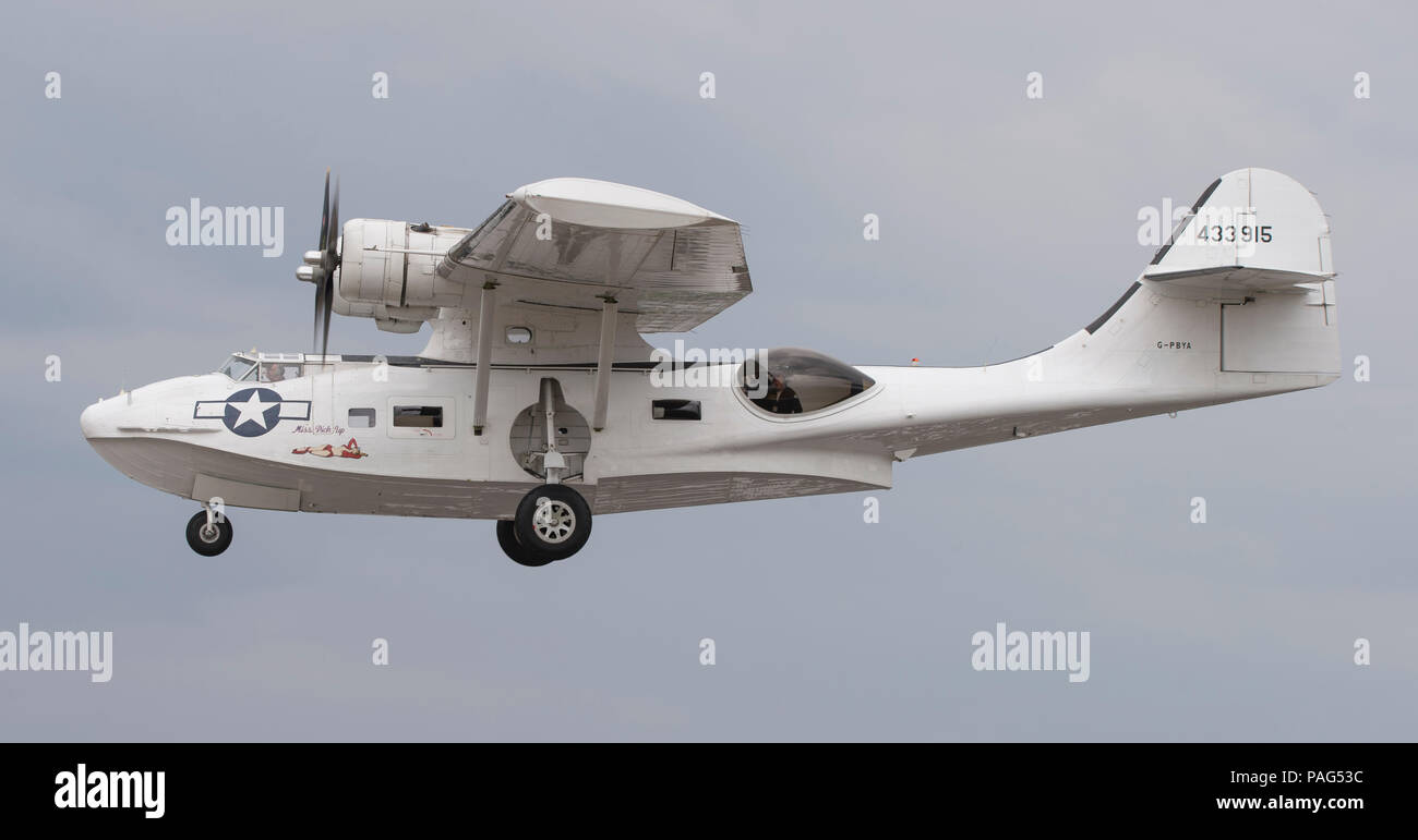 PYB Catalina flying boat arrives at Farnborough for the 2018 public airshow. - Stock Image
