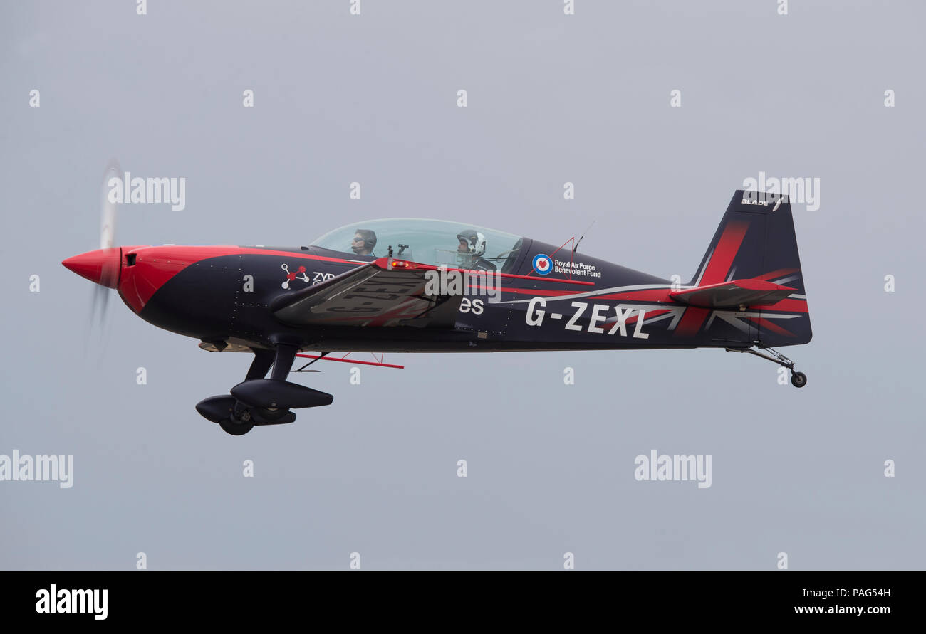 Blades Aerobatic Display Team aircraft lands at Farnborough on 20 July 2018 before the 2018 Public Airshow. - Stock Image