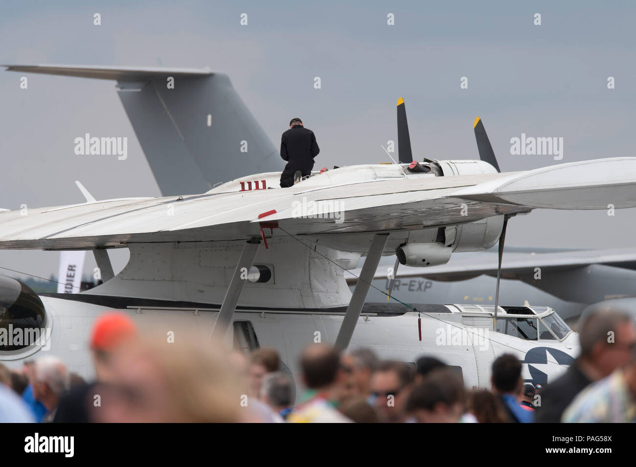 PYB Catalina flying boat parked at Farnborough for the 2018 public airshow. - Stock Image