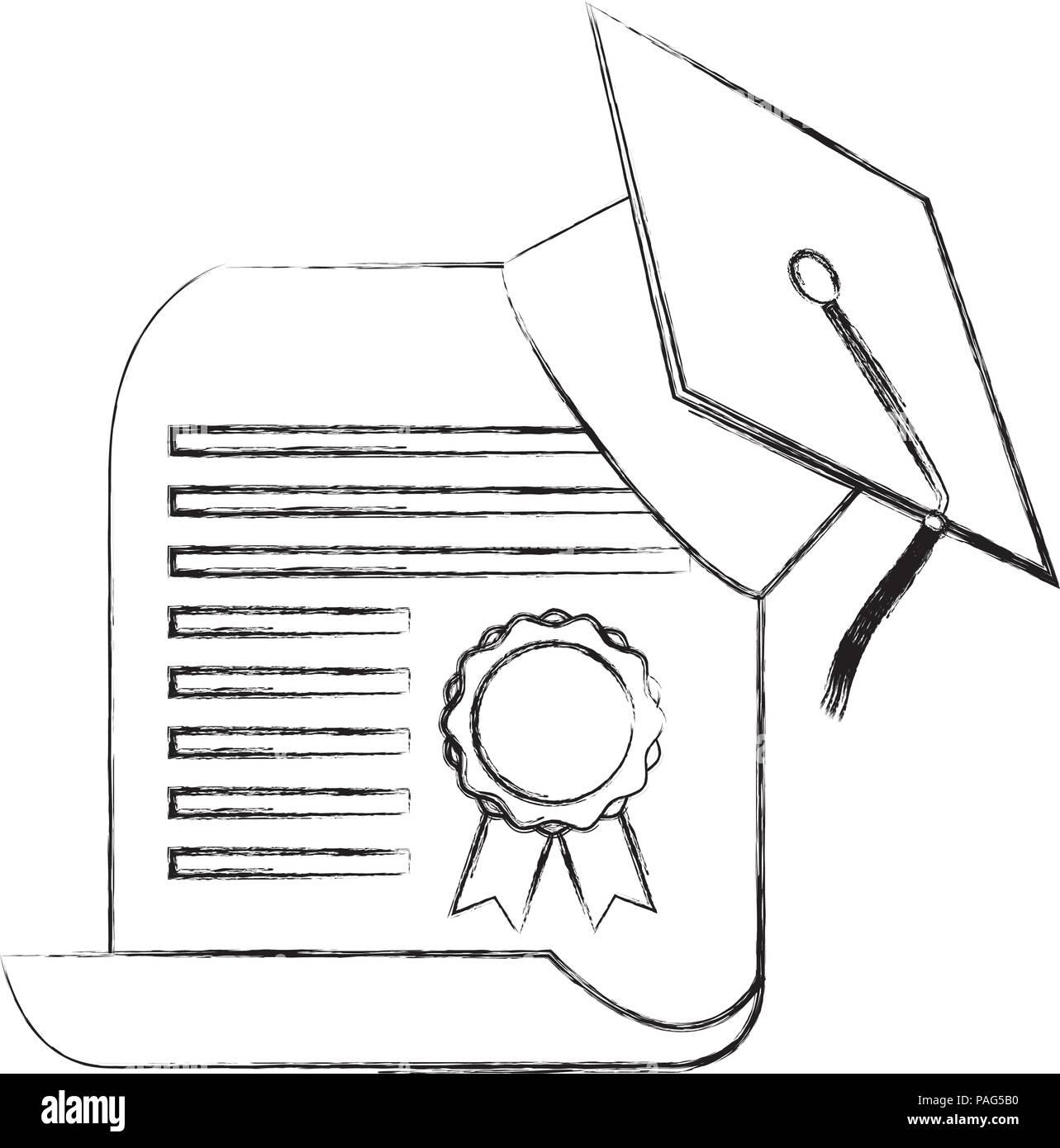 graduation hat certificate school paper stock vector art