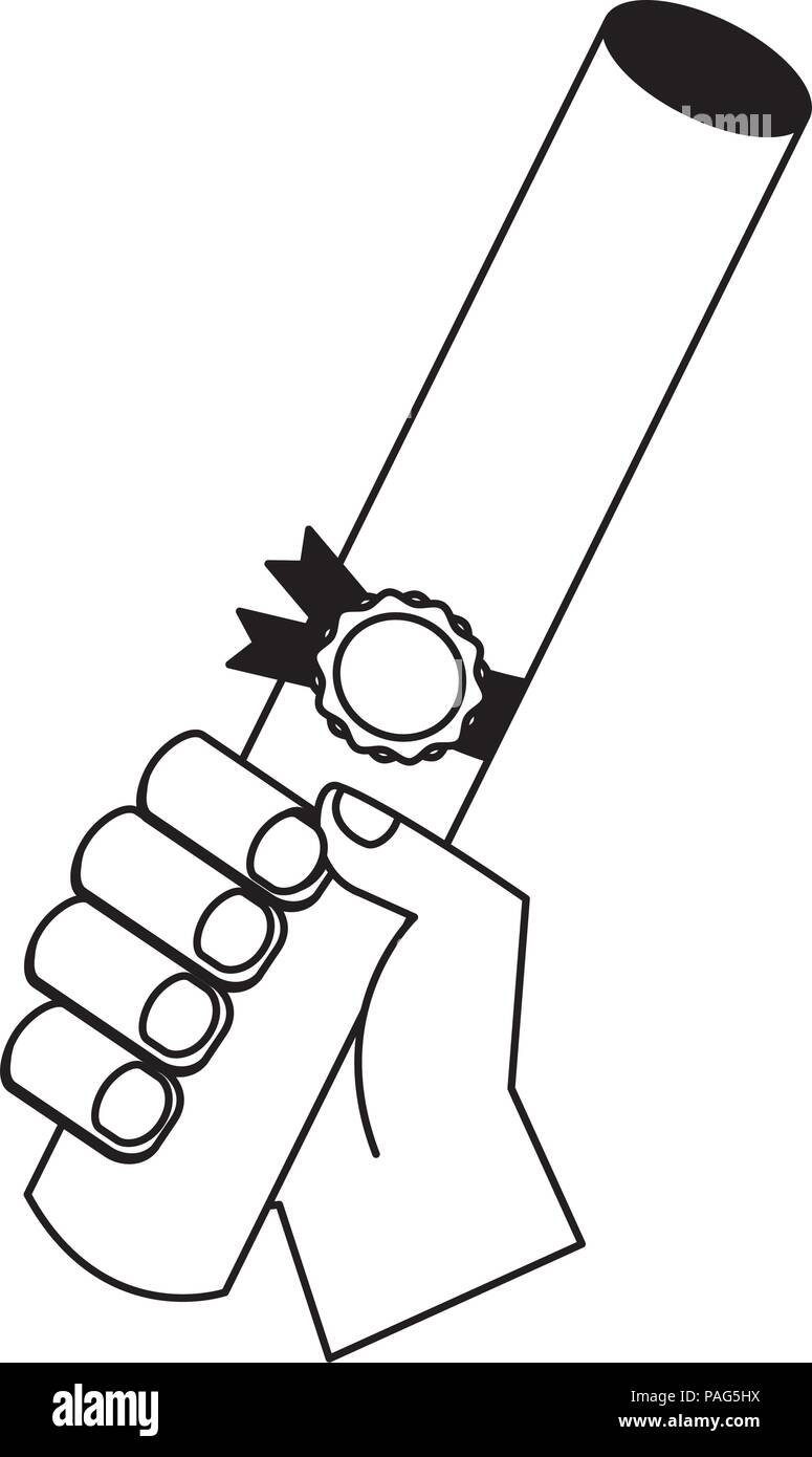 Hand Holding Graduation Certificate Roll Stock Vector Art