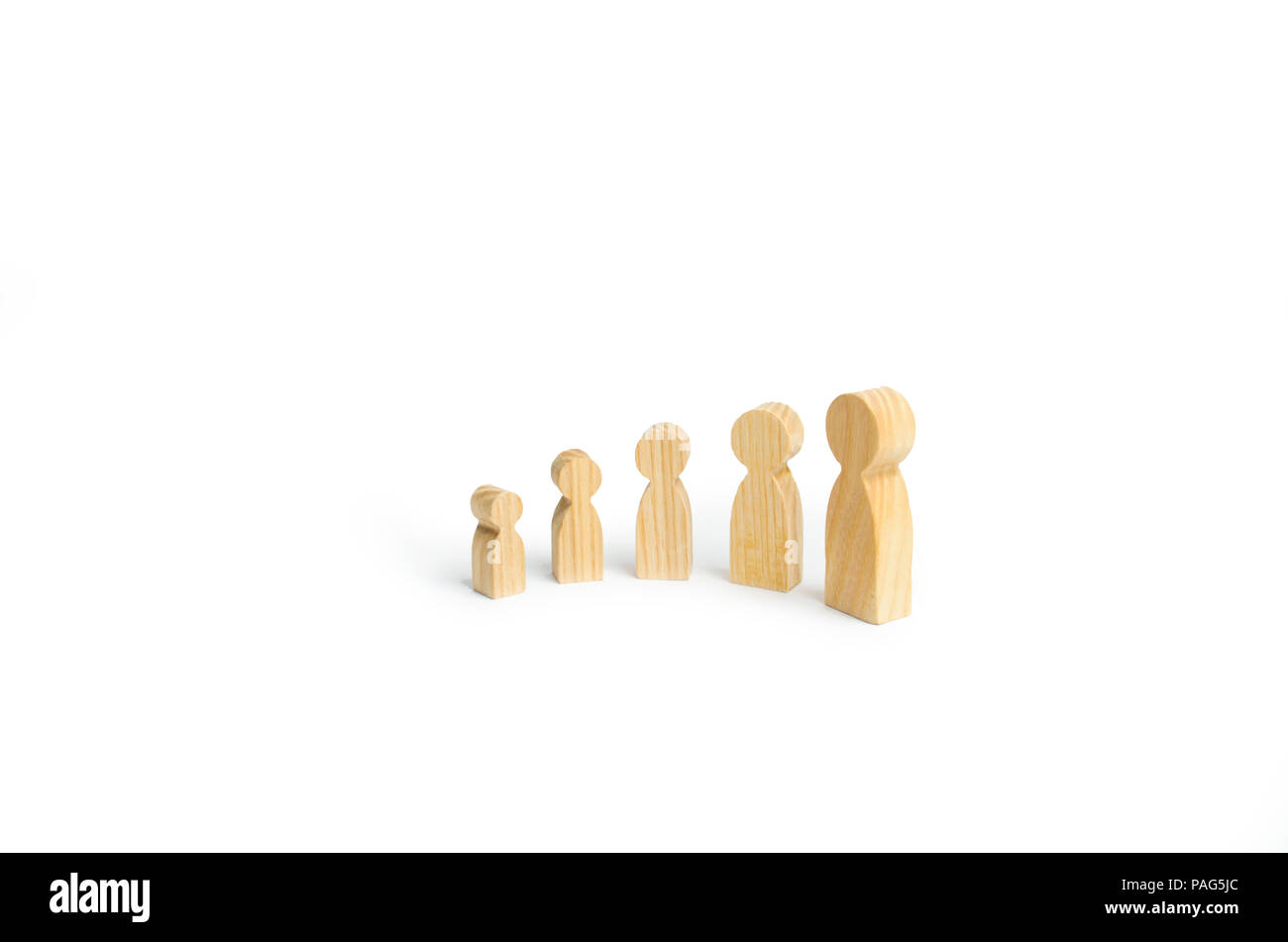 Wooden Figures Of People From Small To Large Stand In A Semicircle