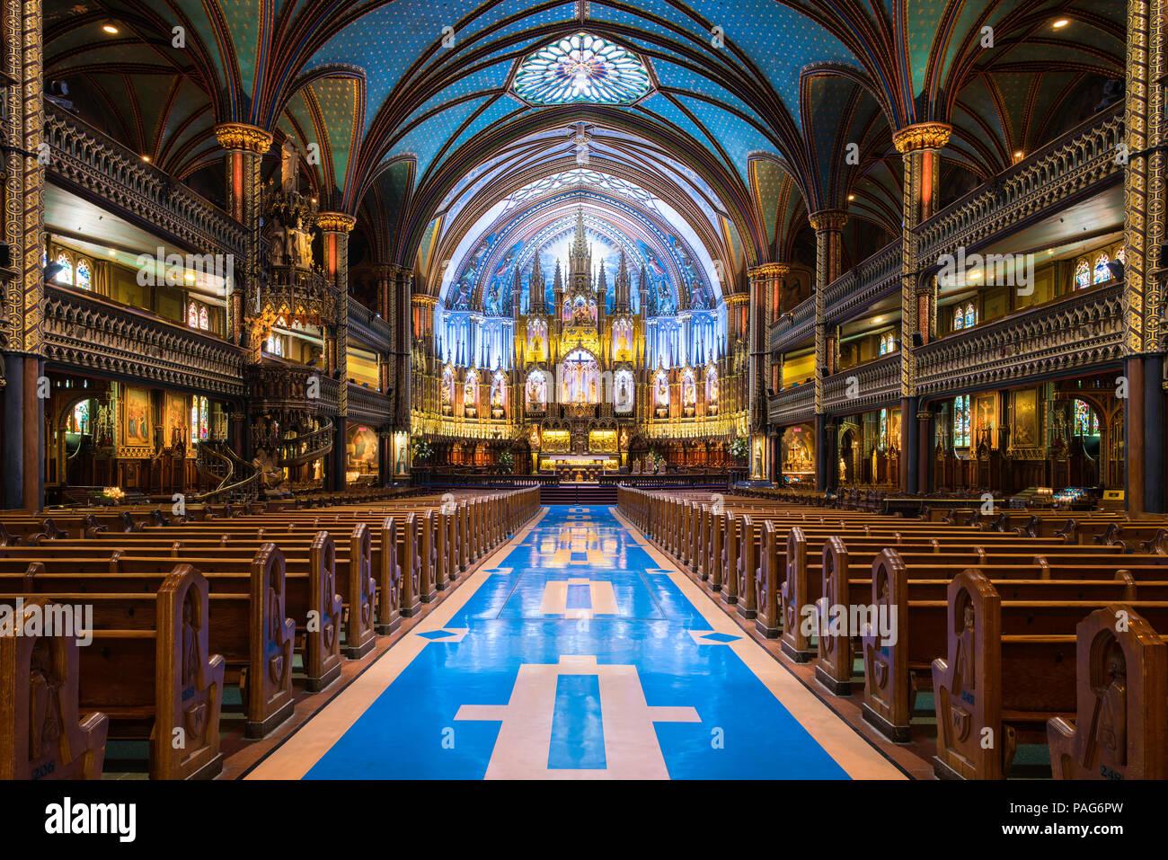 The interior of the Notre-Dame Basilica, Montreal, Quebec, Canada - Stock Image