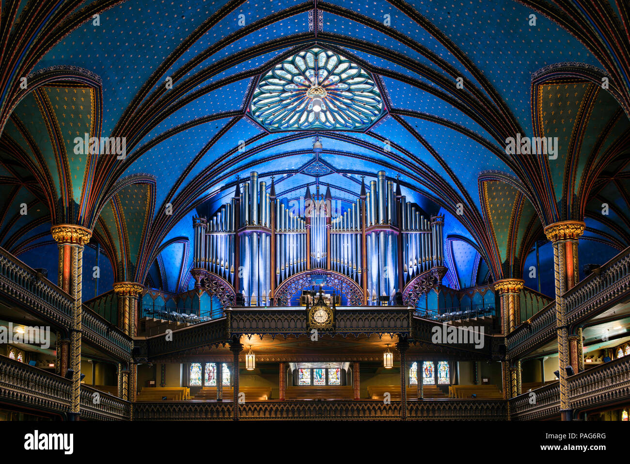 The pipe organs of the Notre-Dame Basilica, Montreal, Quebec, Canada - Stock Image